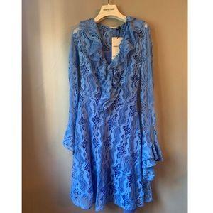 Roberto Cavalli Ceramic Blue Snake Lace Dress